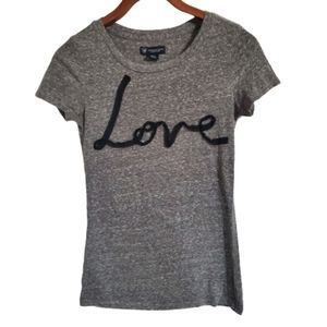 American Eagle Gray Shortsleeve Love Graphic Tee